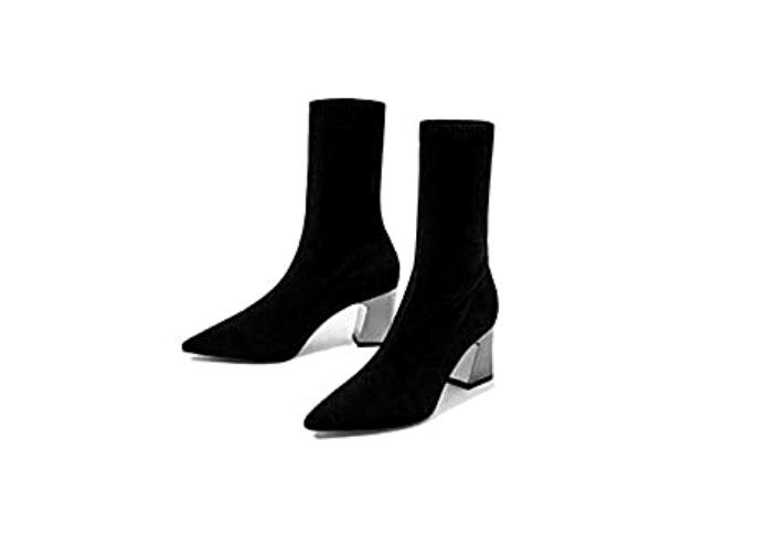 Capodanno fashion stivaletti calza nero tacco argento