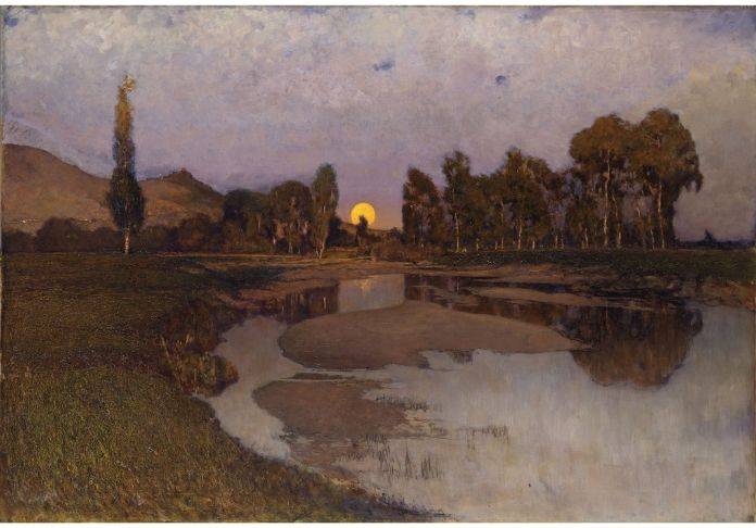 Augusto Carutti di Cantogno Sorge la luna, 1911 olio su tela, cm 125x182 GAM – Galleria Civica d'Arte Moderna e Contemporanea, Torino DALLA TERRA ALLA LUNA a Palazzo Madama di Torino
