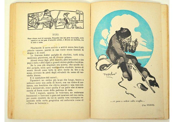 L'interno del libro Le avventure di Pinocchio illustrato da Attilio Mussino della famosa edizone Bemporad