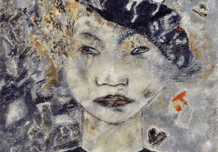 Miresi Autoritratto-con-il-berretto-nero-1992_olio-su-tela-100-x-100-cm