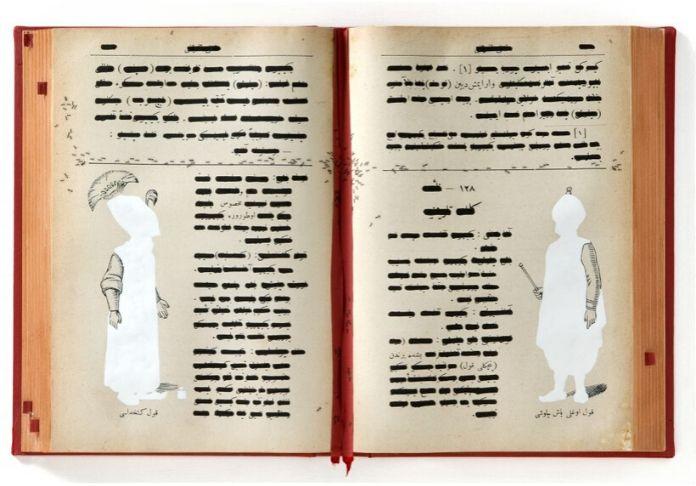 Codice-ottomano-della-solitudine-Emilio Isgrò 2010acrilico su libro in box di legno e plexiglass