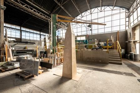 Evgeny Antufiev_Obelisk_2021_travertine_cm 300 x 60 x 60_work in progress
