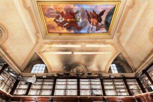 Affresco prima del restauro della Biblioteca Lancisiana