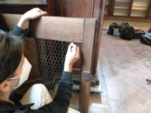 Resaturo su rete metallica nella Biblioteca Lancisiana