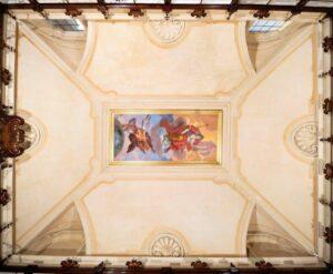 Biblioteca Lancisiana: panoramica dell'afresco dopo il restauro